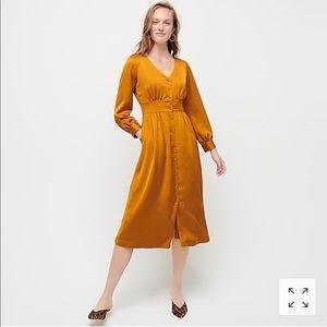 JCrew Button Front Aline Midi Dress- NEW